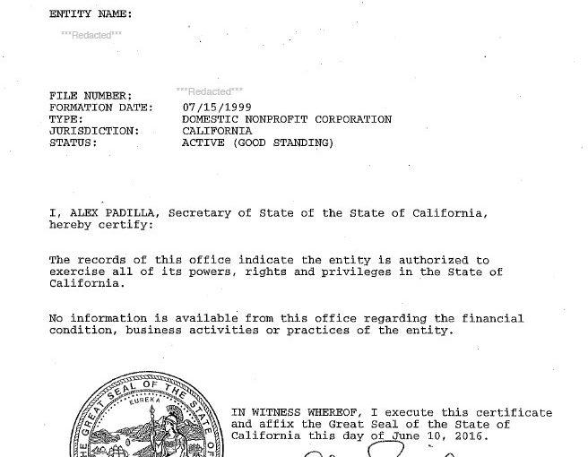 California Certificate of Good Standing